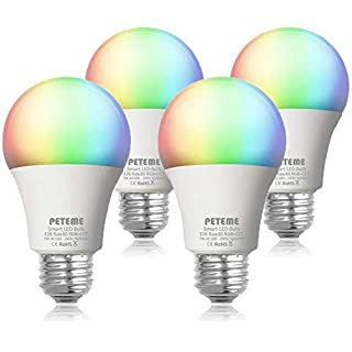Peteme Alexa Smart Light Bulb 2.4G(not 5G), RGB Color Changing LED WiFi Bulb, Work with Alexa, Siri, Echo, Google Home (No Hub Required), E26 A19 60W Equivalent (4 Pack)