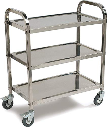 Stainless Steel 3-Shelf Utility Service Storage Cart for Restaurant Catering Kitchen Up to 300 lbs Capacity Stainless Steel Cart - 24.6