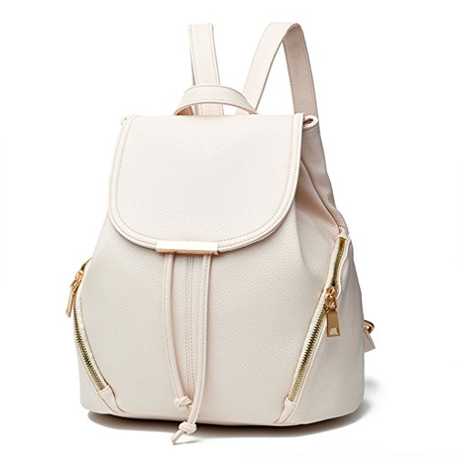 Hellofuture PU Leather Backpack Casual Fashion Trendy Outdoor Daypack Stylish School Bag Solid Travel Backpack for girls and womens (White)