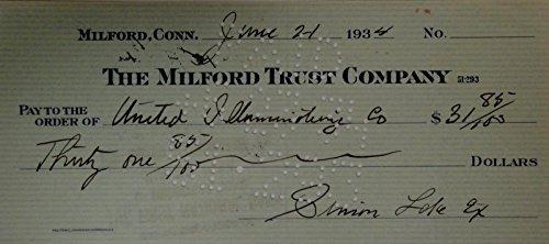Simon Lake Hand Signed Autographed Personal Check $31.85