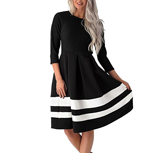 3/4 sleeve black and white dress - 2