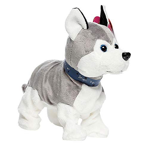 Gotian Interactive Robot Dog Electronic Plush Toy Walk Sound Bark Stand for Kids Gift (C)
