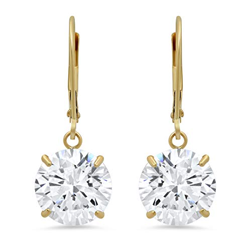 (14k Yellow Gold Leverback Earrings with Cubic Zirconia Dangles | 8 CT.TW. | Gift Boxed)
