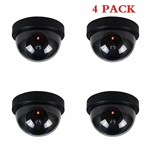 4 Pack indoor Outdoor Dome Camera Dummy Fake Security CCTV Dome Camera with Flashing Red LED Light, Blink Every...