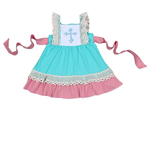 Yawoo Haan Toddler Girls Summer Embroidery Boutique Dress With Belt 5-6T