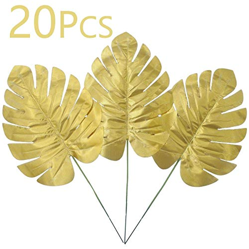 Warmter 20 Pcs Artificial Palm Artificial Plants Tropical Leaves Eucalyptus Branches for Home Wedding Birthday Havana Nights Party Decorations (Gold)]()