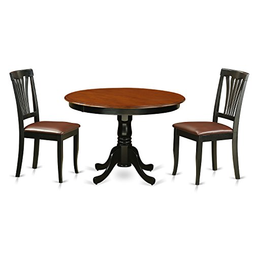 East West Furniture HLAV3-BCH-LC 3Piece Hartland Set with One Round 42in Small Table & 2 Dinette Chairs with Faux Leather Seat in a Black Finish
