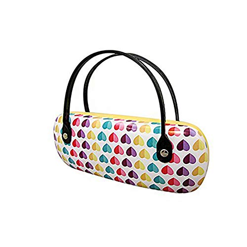 Kids Glasses Case Hard Shell   Medium Size   Protective Eye Glasses And Sunglasses Case With Handles For Girls   Colorful Hearts Pattern Design