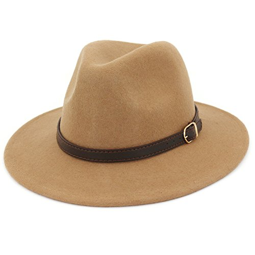 (Lisianthus Women's 100% Wool Fedora Panama Hat Wide Brim with Belt)