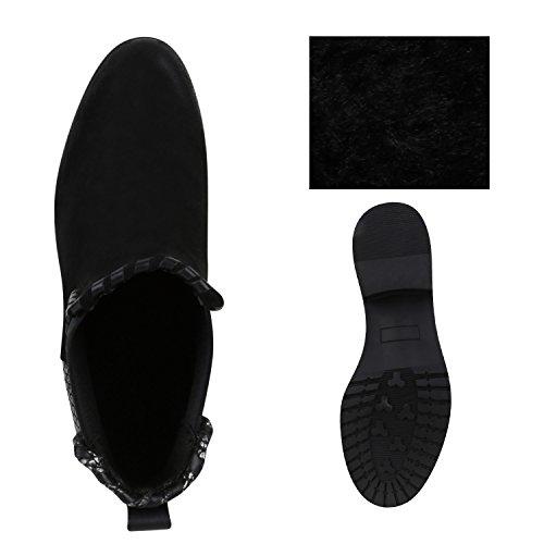 Stiefelparadies Damen Stiefeletten Chelsea Boots mit Blockabsatz Profilsohle Flandell Schwarz Silber Avelar
