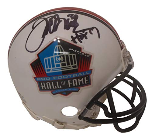 Denver Broncos Terrell Davis Signed Hand Autographed Pro Football Hall of Fame HOF Riddell Mini Football Helmet with Proof Photo of Signing and COA