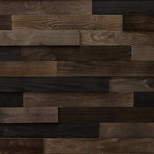 Timberwall - Landscape Collection Black Rock Desert - DIY Wood Wall Panel - Solid Wood Planks - Easy Peel and Stick Application - 9.8 Sq Ft