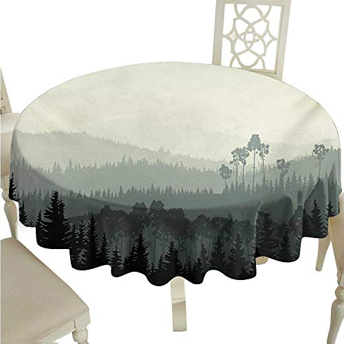 Round Tablecloth Forest The Panorama of a Valley and Mystic Forest of Pine Trees Nature Theme Washable Tablecloth D50 Suitable for picnics,queuing,Family