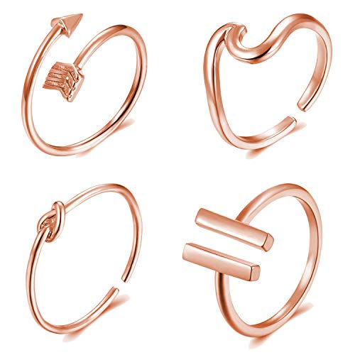 Highven 4Pcs Arrow Wave Ring Set for Women Silver Knot Ring Adjustable Open Ring Set (B:Rose Gold) (Open Knot Ring)