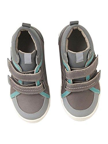 Vertbaudet Leder-Sneakers für Jungen, Anziehtrick Grau