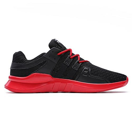HONGANG Fly Weave Running Shoes, Outdoors Casual Shoes Men Sneakers for Sports Running Shoes Lightweight Breathable Mesh Trainers. Black&red
