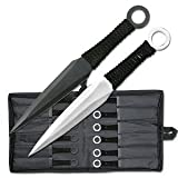 Perfect Point RC-086-12 Throwing Knife Set with 12 Knives, Silver and Black Blades, Cord-Wrapped Handles, 8-1/2-Inch Overall