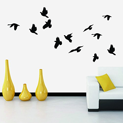 N.SunForest Vinyl Wall Decal Stickers Flying Birds Flying to