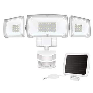GSBLUNIE Solar Security Lights Outdoor,Super Bright Solar Motion Sensor Light with 3 Adjustable Heads,1500ML 6000K,IP65 Waterproof Flood Light Outdoor for Garage,Yard,Patio,Entryways,Garden