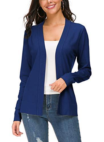 Women's Knit Cardigan Open Front Sweater Coat Long Sleeve (XL, Royal - Long Sleeve Cardigan Knit