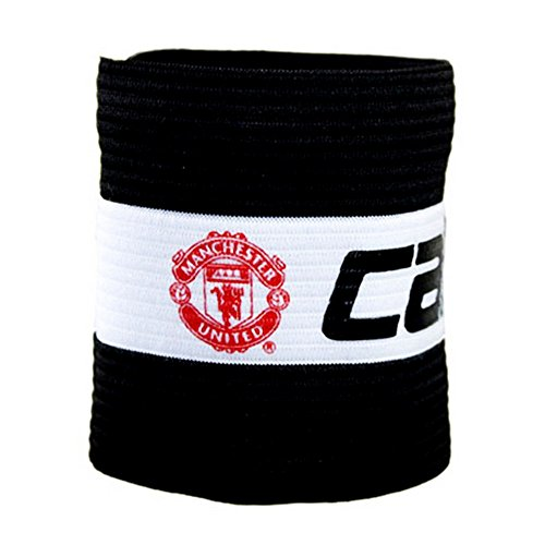 Manchester United FC Official Captains Football Crest Sports Armband (One Size) (Black/White)