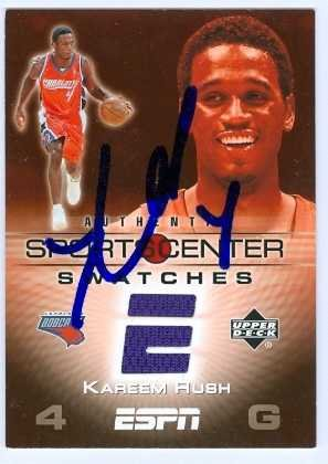- Kareem Rush autographed Basketball Card (Charlotte Bobcats) Game Used Jersey Swatch card upper deck 2005