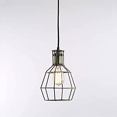 Clinton Vintage Bronze Metal Open Caged One Bulb Pendant with Vintage Bushwick Bulb Included