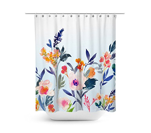Livilan Fresh Watercolor Floral Shower Curtain Set 708 X Decorative Waterproof Quick