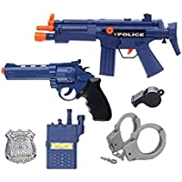 IndusBay® Police Toy Gun Role Play Set 6 Piece Toys - AK47 Combat Gun, Pistol, Whistle, Batch, Handcuffs InterPhone More Cosplay Fancy Dress for Kids