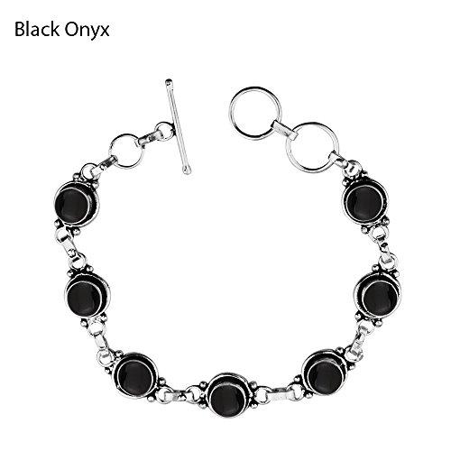 (12.50Gms,4.50 Ctw Genuine Black Onyx 925 Sterling Silver Overlay Handmade Fashion Bracelet Jewelry)