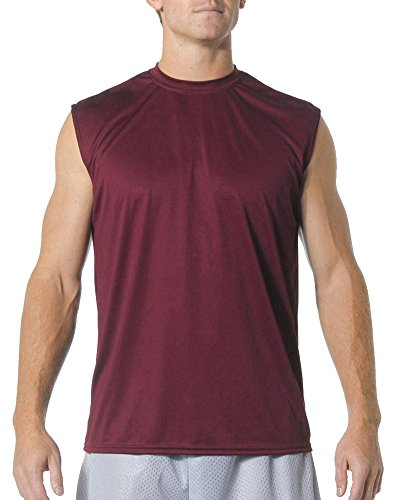 A4 Adult Cooling Performance Muscle T-Shirt, Maroon, Medium