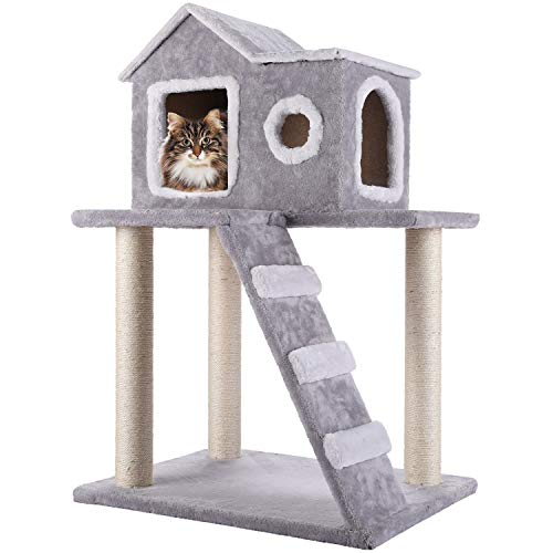 CO-Z Cat Tree Condo Tower with Ladder and Scratching Posts Kitty Trees House Bed Furniture for -