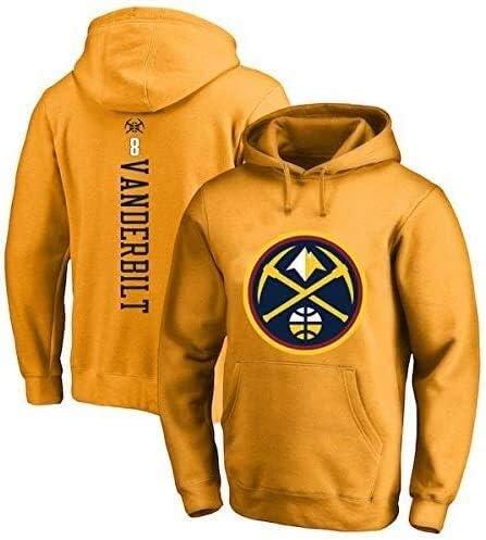 バスケットボールパーカーデンバーナゲッツNBA#8ジャーレッドヴァンダービルトスポーツジャケットスウェットシャツトップスバスケットボールコンペティションジャージ (Color : Yellow, Size : Small)