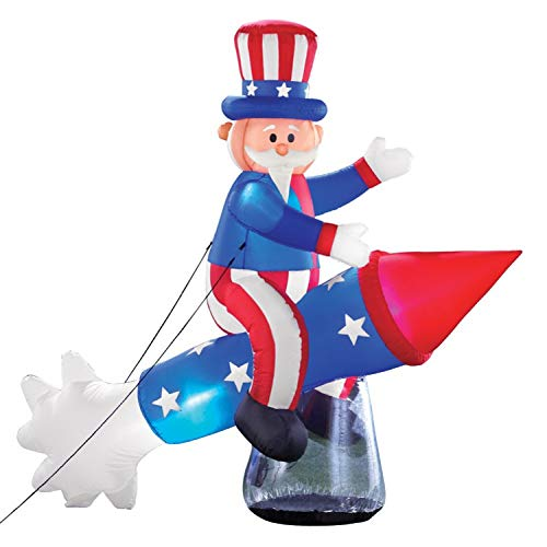 TRM LIGHTED PATRIOTIC INFLATABLE UNCLE SAM ON ROCKET USA FLAG