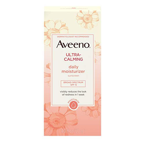 Aveeno Ultra-Calming Fragrance-Free Daily Facial Moisturizer for Sensitive, Dry Skin with SPF 15 Sunscreen, Calming Feverfew & Nourishing Oat, 4 fl. oz