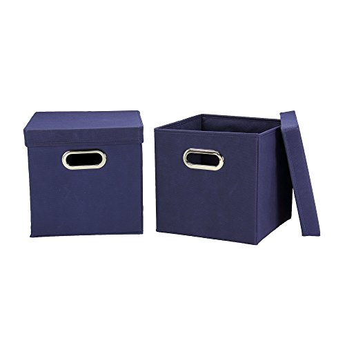Household Essentials Cube Set with Lids, Navy, 2-Pack