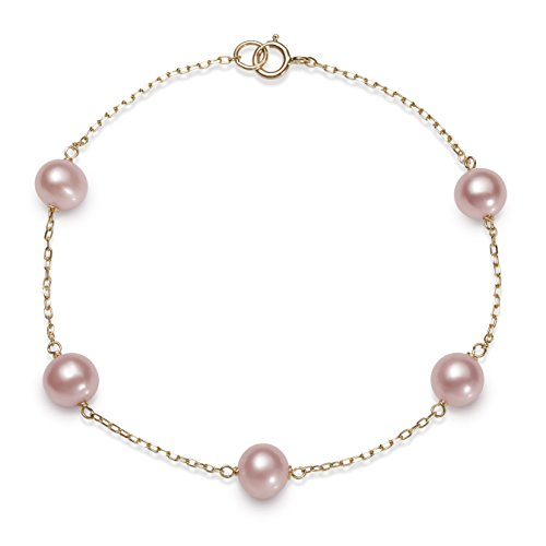 - 10kt Yellow Gold 6.0-6.5mm Pink Cultured Freshwater Pearl Station Tin Cup Bracelet,7.5