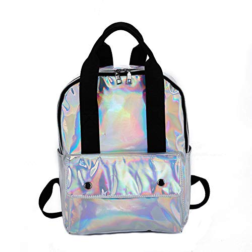 Wulofs Holographic Couple Laser Schoolbag Travel Hiking Bag Solid Backpack Collection Luminous Shiny Bag
