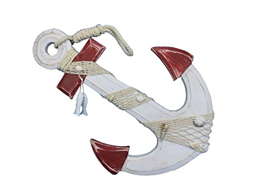 Wooden Rustic Red/White Decorative Anchor w/ Hook Rope and Shells 18