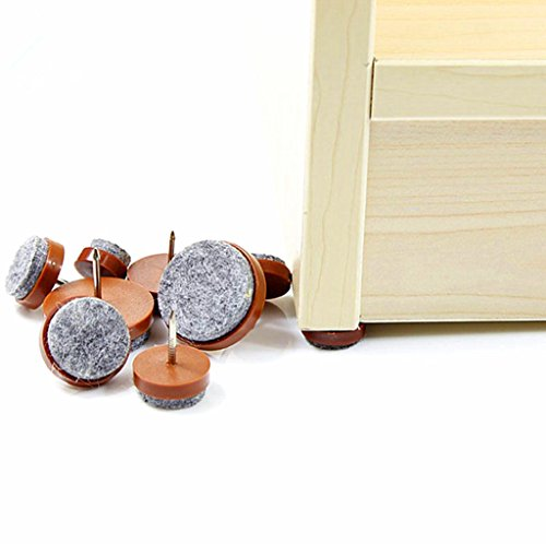 40pcs Round Heavy Duty Nail-on Anti-Sliding Felt Pad(Dia 1.1'' or 28mm,brown) for Wooden Furniture Chair Tables Leg Feet By Alimitopia by HuanX35 (Image #4)