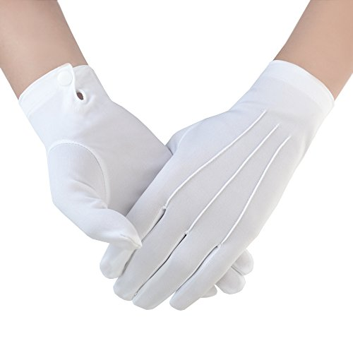 JISEN Men Police Formal Tuxedo Honor Guard Parade with Snap White Nylon Gloves 26cm