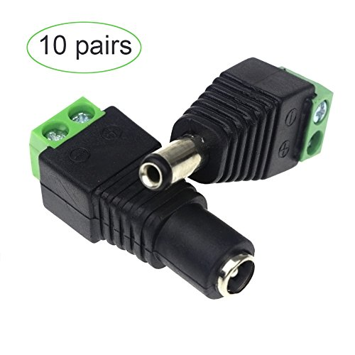 - 12V DC Power Connector 5.5mm x 2.1mm, CENTROPOWER ( 10 x Male and 10 x Female ) Power Jack Adapter for Led Strip CCTV Security Camera Cable Wire Ends Plug Barrel Adapter