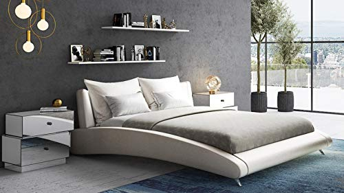 Zuri Furniture Cadillac Queen Ivory Leather Platform - Modern Bed Italian Platform