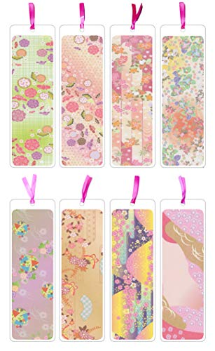 Japanese Pattern Paper Floral Cherry Blossom 8 Pcs Laminated Bookmarks for Women