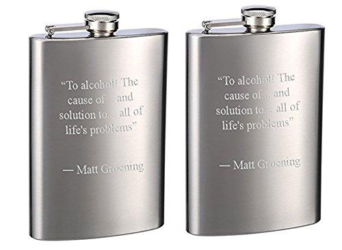 Top Shelf Flasks Brand Engraved 8oz Hip Flasks - Personalized, Pack of 2