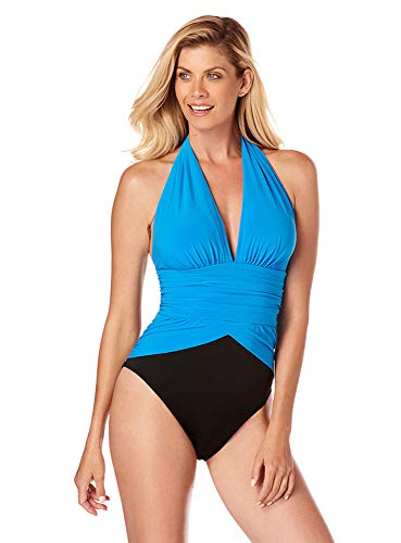 (Magicsuit Women's Swimwear Solid Jenn One Piece Swimsuit with Soft Cup Bra and Adjustable Halter Straps, Azure, 16)