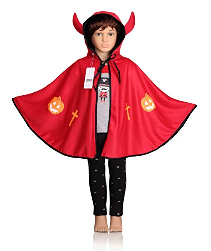 [ProEtrade Child Costume Cosplay Pumpkin Cape Hooded Devil Style For Halloween (Red)] (Childs Bat Costume Pattern)