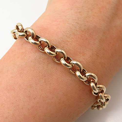 925 Sterling Silver Gold Plated Italy Rolo Link Bracelet 7