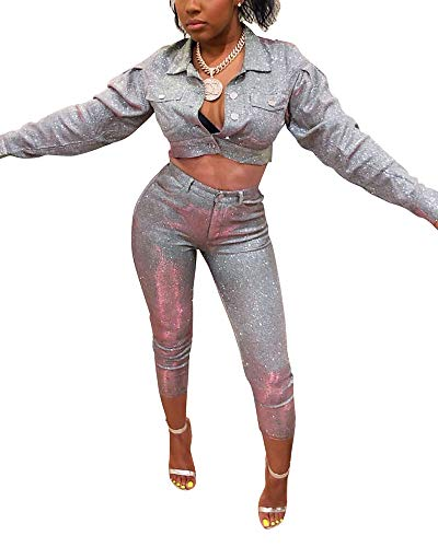 MS Mouse Womens Long Sleeve Jackets and Capris Set Sequin Two Piece Outfits S Silver