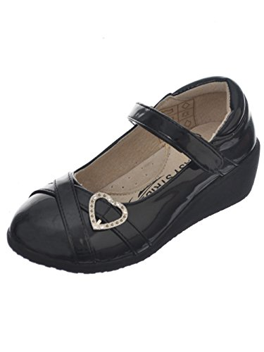 Easy Strider Girls'Patent-Strapped Heart Mary Janes - Black, 4 - Bejeweled Wedge